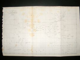 Japan Perry Expedition 1856 Antique Map. Chart showing the track of Flagships